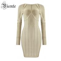 Free Shipping 2018 New Fashion Elegant Khaki Long Sleeves O Neck Mini Celebrity Party Women Wholesale