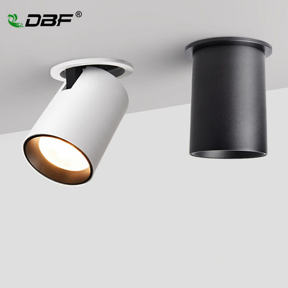 DBF Foldable Recessed Ceiling Downlight 7W 12W Black White Housing 360 Degree Rotatable 3000K 4000K 6000K Ceiling Spot Light