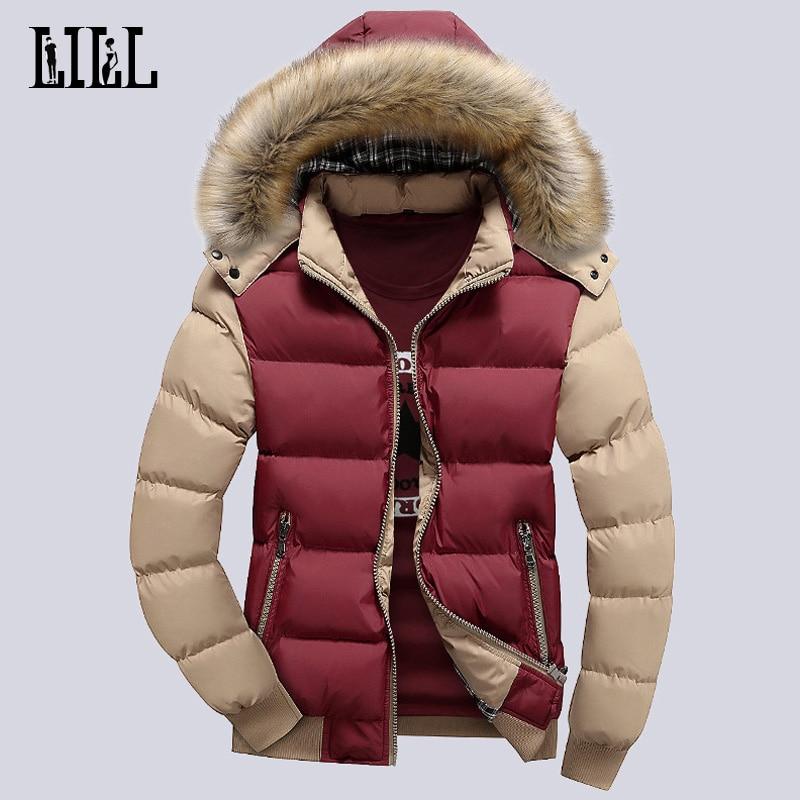 9 színes divat márka téli férfi kabát szőrme kapucnis kalap vékony férfi ruházat kabát alkalmi vastag férfi le kabátok 4XL, UMA347
