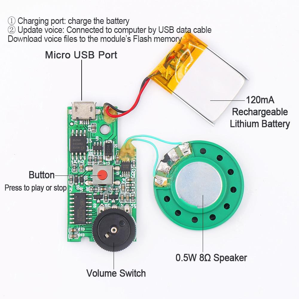 USB Download Push Button Audio Playback MP3 Sound Module