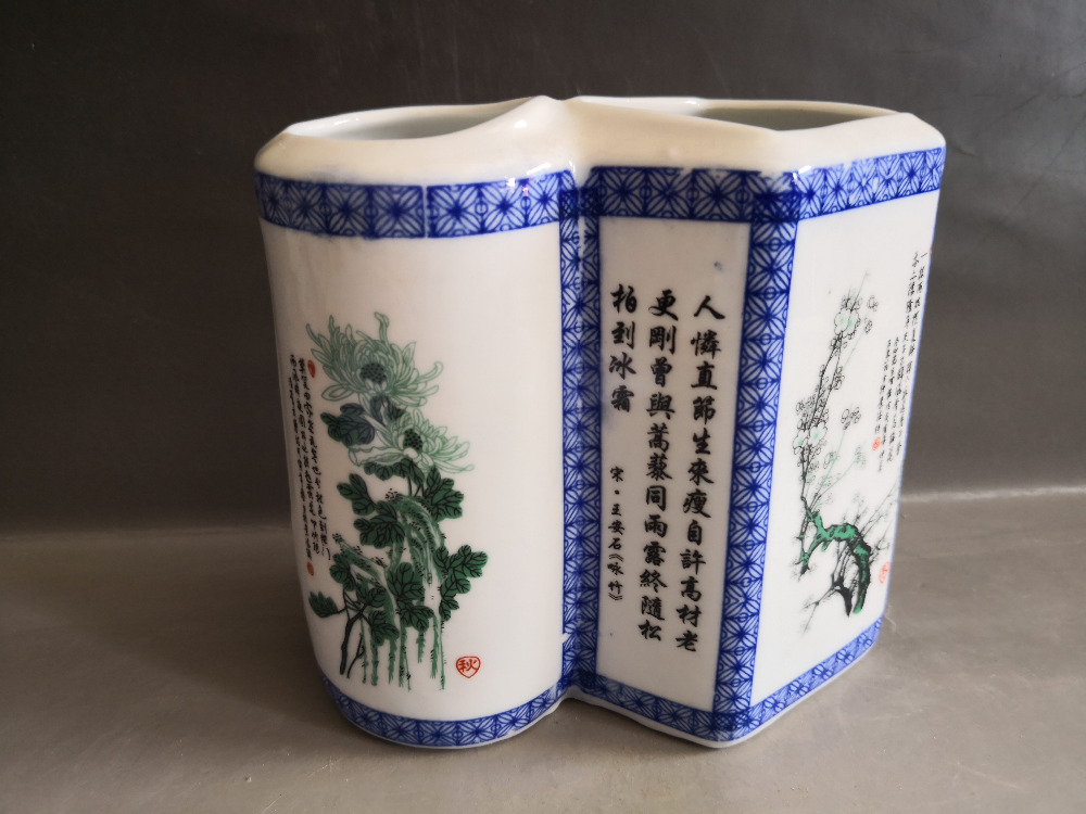 Chinese old porcelain Vases Coloured drawing porcelain Conjoined