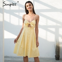 Simplee Hollow Out Bow Midi Dress Women Causal Backless Summer Dress Female Button Strap White Dress