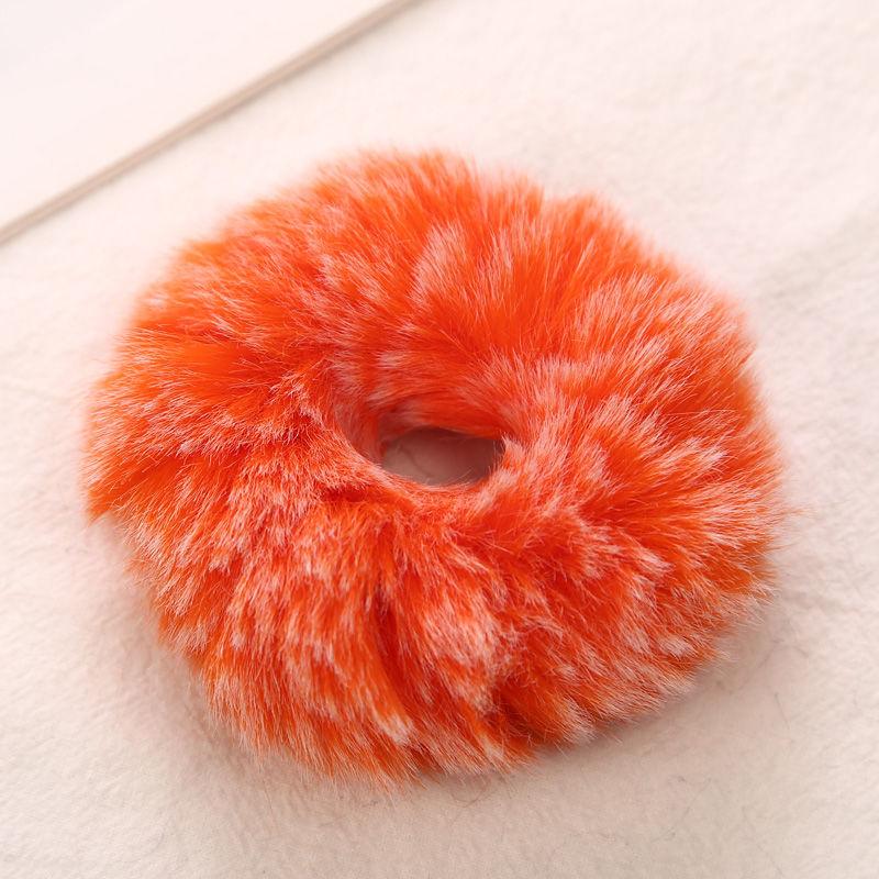 AIKELINA/Новинка; зимняя теплая мягкая резинка для волос из искусственного кроличьего меха для девочек и женщин; аксессуары для волос; Детская резинка; головной убор - Цвет: Orange