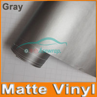 Free Shipping High Quality 30M A Lot Gray Matte Vinyl Wrap With Air Release Satin Matt