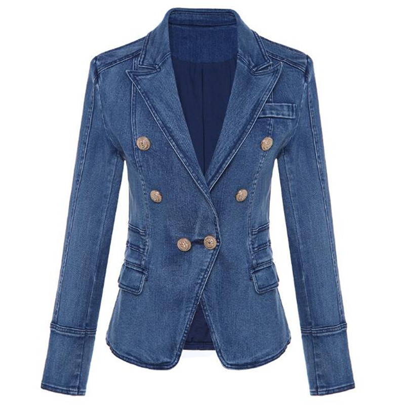 High Quality Denim Blazer Fashion Casual 2020 New Designer Women Double Lion Button Long Sleeve Jeans Jacket Outwear Coat Tops