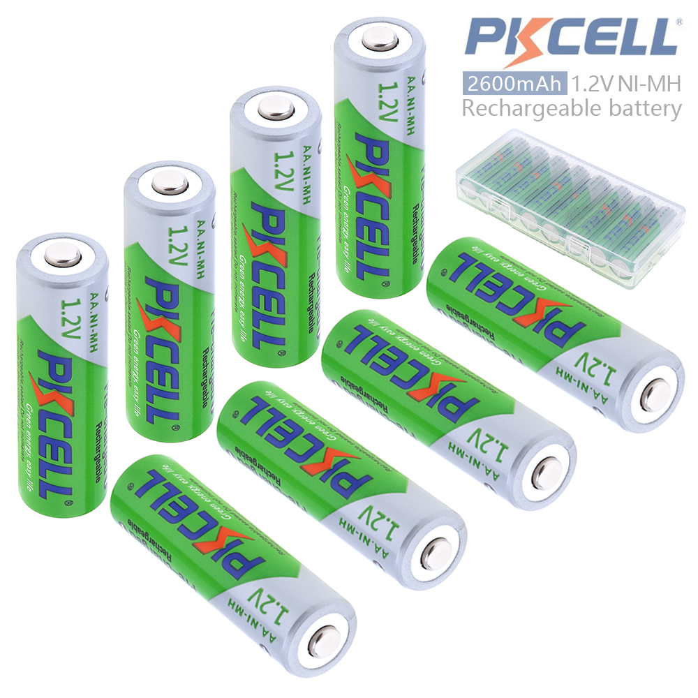 Pkcell 8pcs 1.2V AA 2600mAh Ni-Mh Rechargeable <font><b>Batteries</b></font> with Safety Relief Valve Support 2A Pre-charged +<font><b>Battery</b></font> Hold Case Box