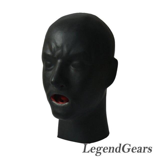 Новое Поступление Горячей 3D Человеческую Маску Из Латекса Капот Закрыты Глаза Фетиш Капот Красный Рот Оболочка Язык Нос Трубки
