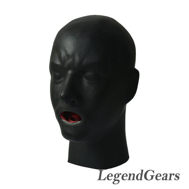New Arrival Hot 3D Latex Human Mask Hood Closed Eyes Fetish Hood Red Mouth Sheath Tongue Nose Tube