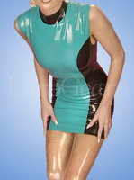 Sleeveless rubber latex dress exotic dresses 100% handmade