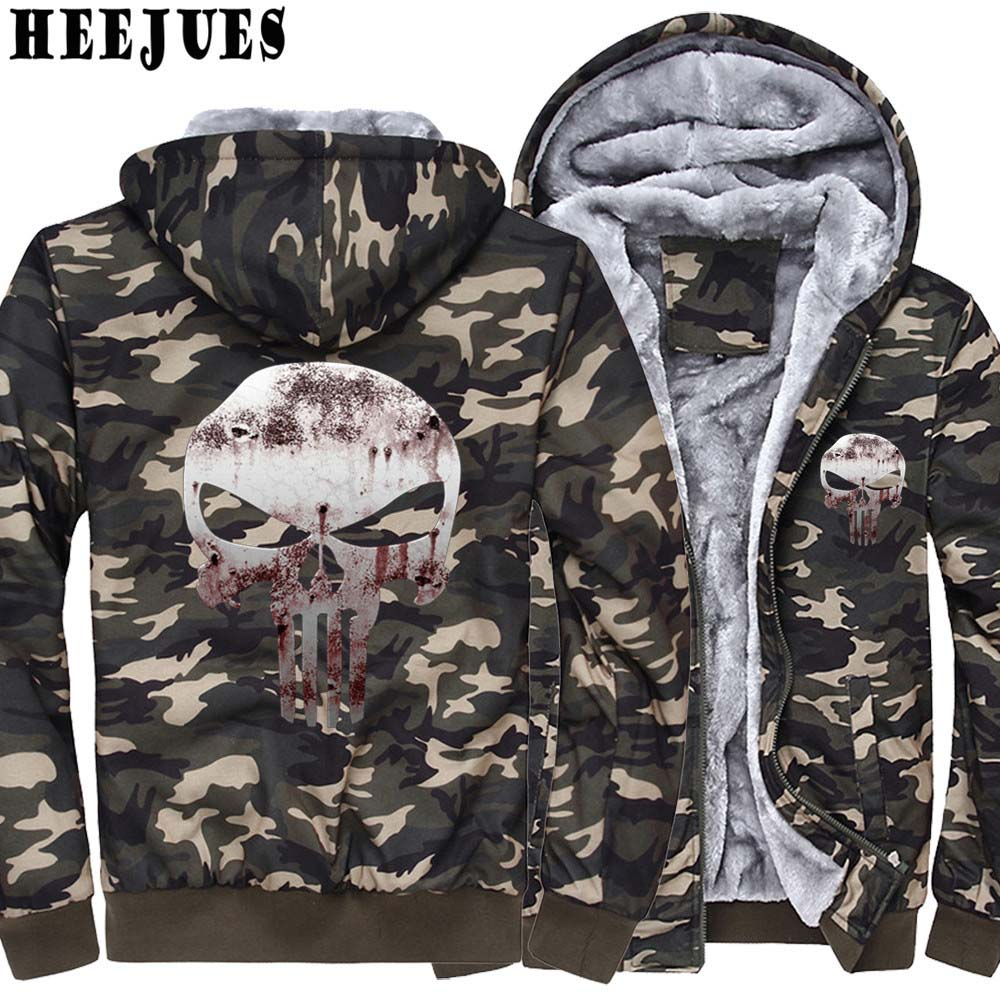 New Hoodies Men Hombre Hip Hop Mens Brand Camouflage hoodies Bloody Punisher Skull Coats sweashirt Slim Fit Men Hoody 3XL