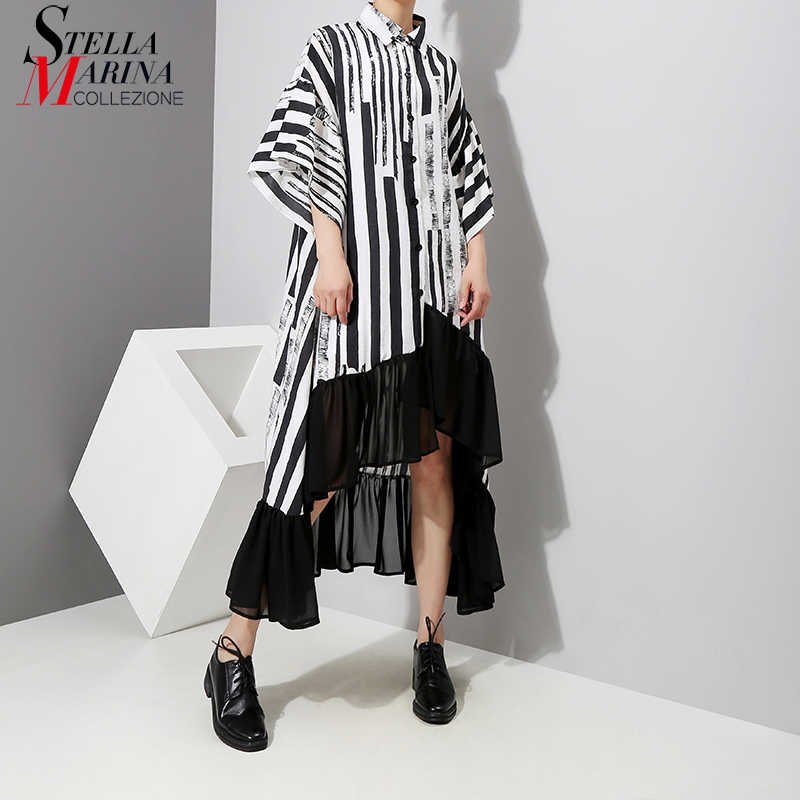 New 2018 Women Summer Asymmetrical Black Striped Shirt Dress Plus Size  Ruffle Half Sleeve Night Party 3bd4ebdebb65