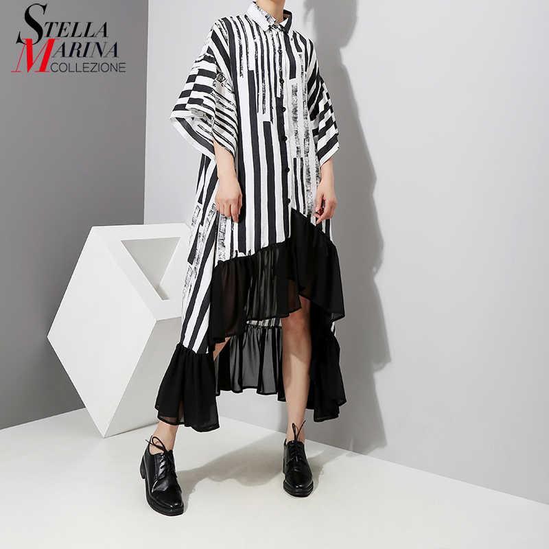 Новинка 2019, женское летнее асимметричное черное платье-рубашка в полоску, платье большого размера с оборками и рукавом 1/2 для ночной вечеринки и клуба, женское платье, 3518