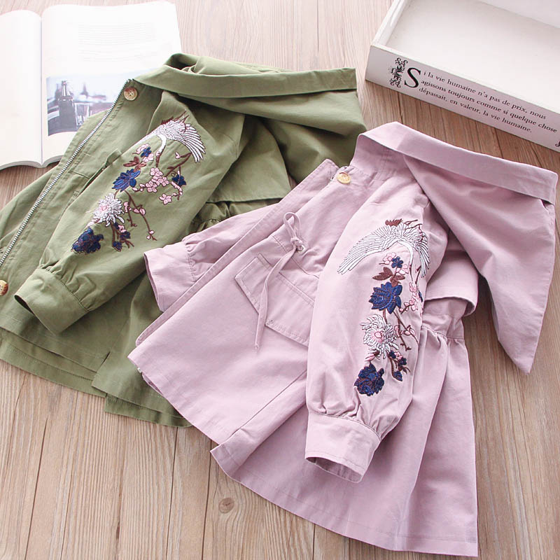 Autumn Baby girl Jacket For Girls coat embroidery flower Fashion Baby Outerwear Kids jacket long Children Girls Clothes Outfit deep blue fashion long sleeves side pockets embroidery jacket