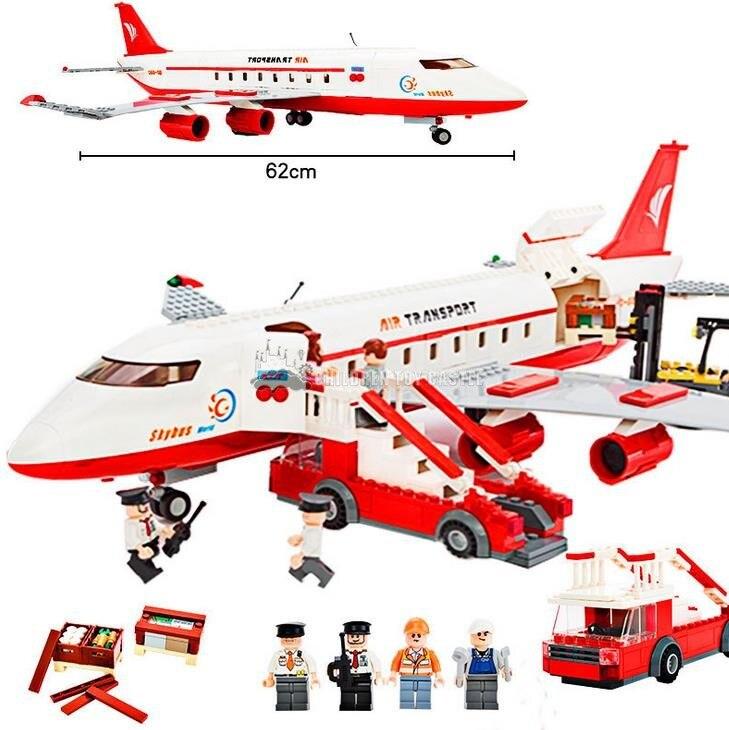 ФОТО GUDI 8913 City Air Plane Large Passenger Aircraft Building Block 856Pcs Bricks Toys Compatible With Plane