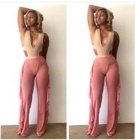 New Fashion Ladies Women's Bohemian Straight Harem Pants Women Beach Clothing Loose Elastic Waist Trousers Casual Pants RUFFLE