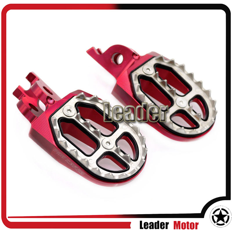 For Honda CR125 CR250 CR500 CRF450X CRF230F CRF250R CRF250X CRF450R Billet MX Wide Foot Pegs Rests Pedals Red morais r the hundred foot journey