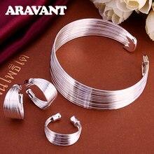 Neue Mode 925 Silber Schmuck Sets Einfache Multi Linie Offene Armreif Ringe Ohrring Fit Für Frauen Hochzeit Schmuck