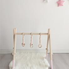 INS в скандинавском стиле милые животные деревянные бусины орнамент подвесной браслет для ребенка погремушка аксессуары для коляски реквизит для фотосессии