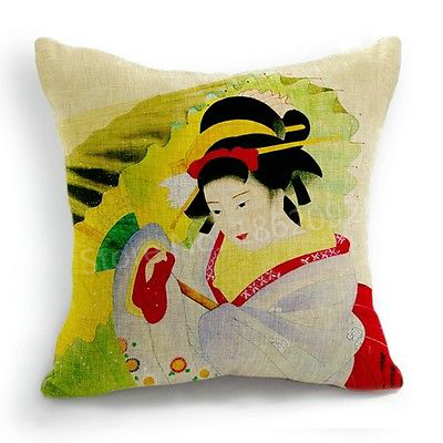 Decorative Japanese Kimono Cushion Cover Retro Vintage Japanese Women  Umbrella Linen Throw Pillow Case Sofa Couch Decor 18