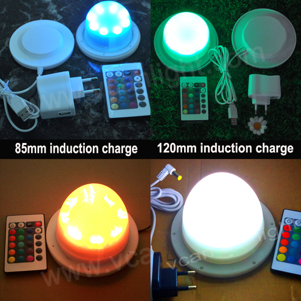 6PCS DHL Shipping Factory Wholesale 38LEDs RGBW Multi-color LED Base light with remote control/ LED centerpiece light
