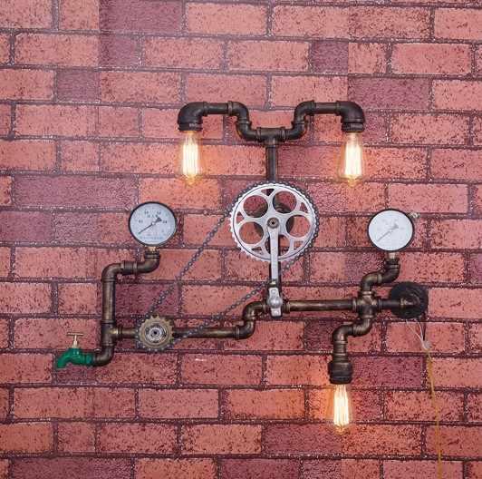 Лофт стиль железное колесо промышленный винтажный настенный светильник светодиодный домашний водопровод лампа прикроватная Эдисон настенный светильник Домашний Светильник