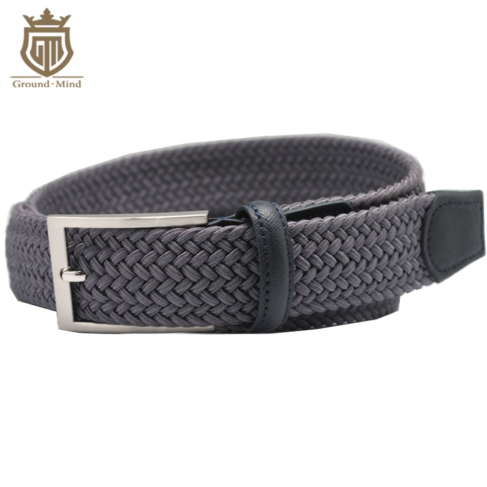 Breathable Elastic Braided Men Male Belts Woven Strap Genuine Leather Tip & Head Classic Casual Style for Jeans