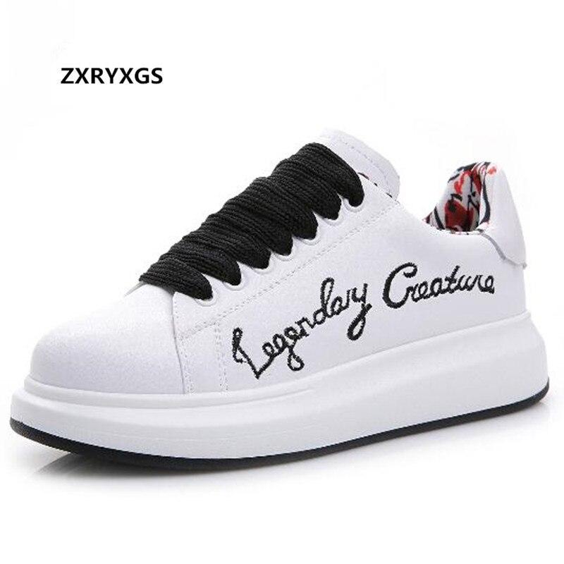 317bb6445 Do 2019 Liso Sapatos Couro Casual Zxryxgs Moda branco Homens Não Sneakers  De Marca Selvagens Bordado Masculinos Nova ...
