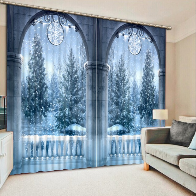 customize 3d curtains for bedroom European dream winter scene blackout embroidered voile curtains 3d stereoscopic