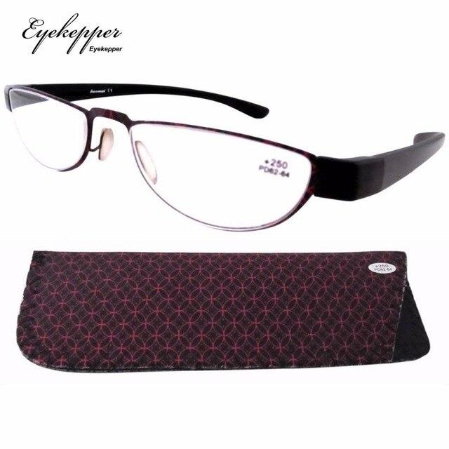 f5b8355be64 R11003 Eyekepper Stainelss Steel PATTERN Frame Rim Plastic Arms Women s Reading  Glasses W pouch +1.0 1.5 1.75 2 2.25 2.5 3 3.5