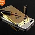 Para huawei honor 4c case luxury gold chapeamento de alumínio frame da liga + espelho acrílico tampa traseira casos de telefone para huawei 4c c8818d