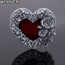 WesBuck BrandNew High-quality 3D Red love Roses Fashion belt buckle Classic Mens Womens Jeans accessories