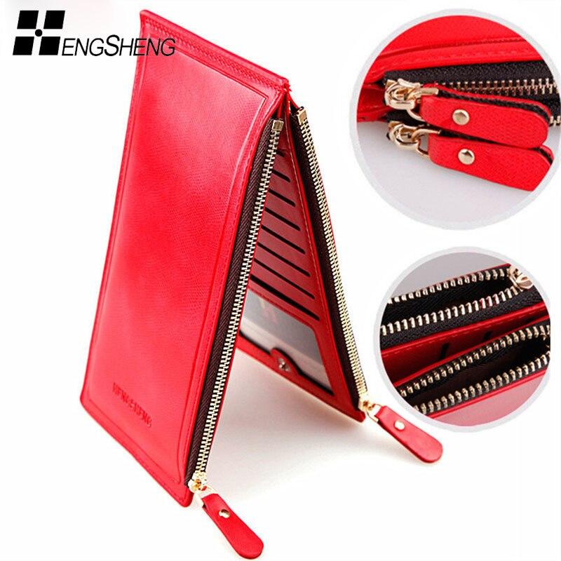 2018 NEW Women Wallets Double Zippers Colourful Ultrathin Coin Wallet Fashion Women Wallet Handbag Women Purse Card Holders Bag