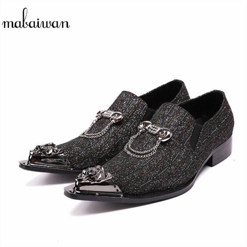 Mabaiwan New Metal Pionted Toe Men Shoes Loafers Office Dress Shoes Slip On Casual Shoes Men Flats Creepers Espadrilles Size 46 mabaiwan fashion rhinestone flats men loafers wedding dress shoes slip on casual shoes men creepers espadrilles mocassin homme