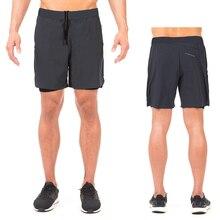 Mens 2 in 1 Running Security Pockets Leisure Shorts Quick Drying Sport Built-in Hips Hiden Zipper M-XXL