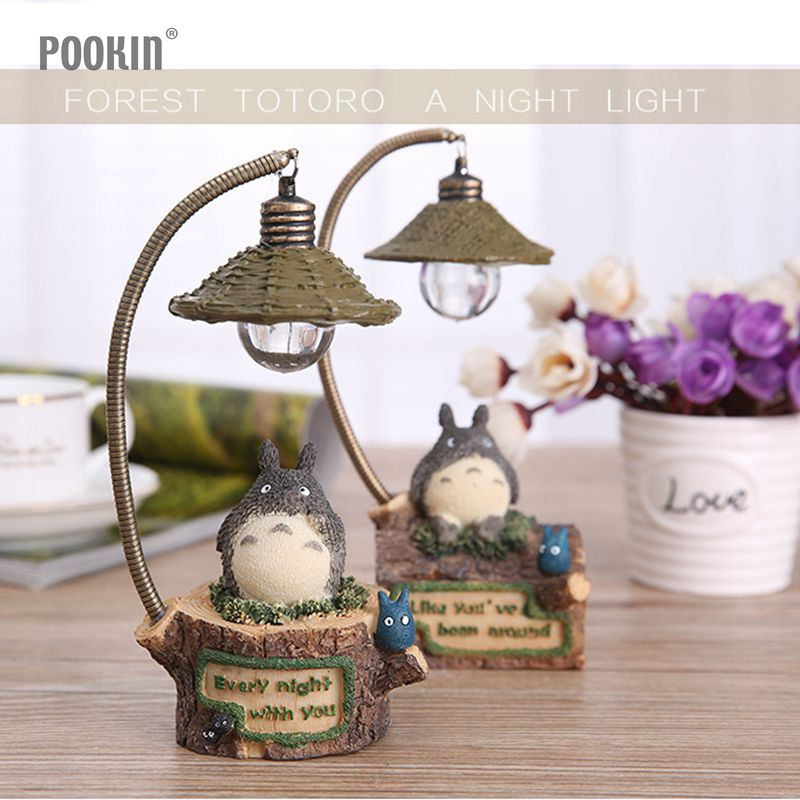 Cute Flexible Resin Totoro Night Light LED Bedside Nightlights For Children Birthday Gift Home Decor livewin warm white led night light cute night lamps for baby children kids gift bedroom bedside home decor dimmable lamparas