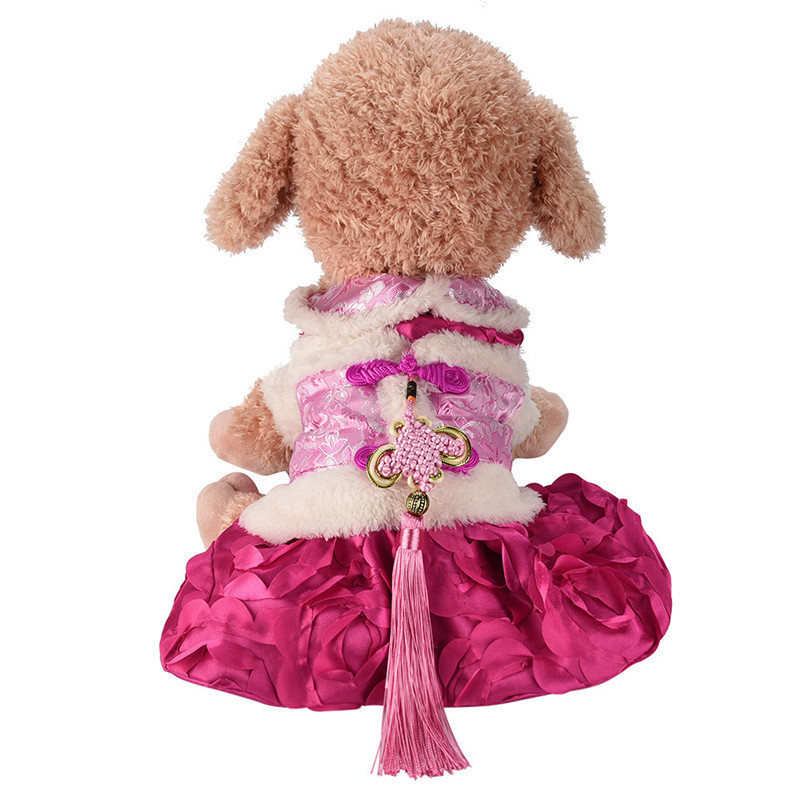 princess dog dress winter Warm christmas Chinese Style Tang Suit Small Pet Cat Flower bow decorated Skirt Clothes Puppy costume