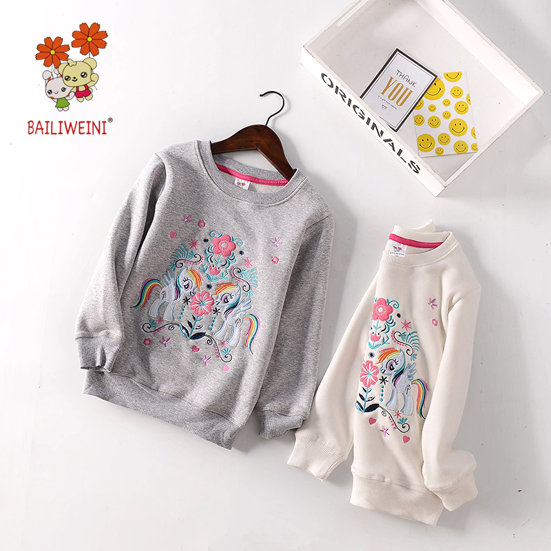 2018BAILIWEINI spring and autumn new childrens long-sleeved embroidered flowers boys embroidery angel pony sweater