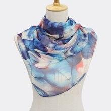 bd39b141dd84 Chiffonshawl écharpe pour femmes étoles en soie pour Impression femmes wrap  cap femelle foulards snood d hiver hijab châle sciar.