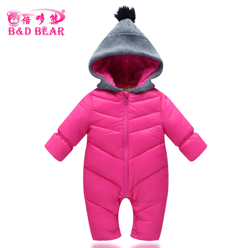 Spot Thick Warm Pure Hooded Jumpsuit Children Baby Cotton Clothing Baby BodysuitSpot Thick Warm Pure Hooded Jumpsuit Children Baby Cotton Clothing Baby Bodysuit
