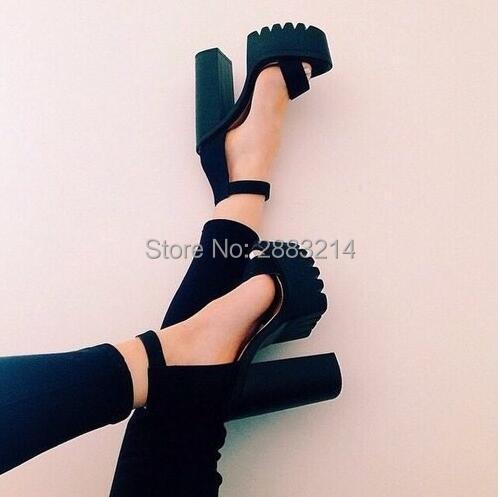 79ac92f8e45 2017 vogue Ankle Strap Chunky Heel Buckle Strap Black Leather Gladiator  Sandals Shoes Thick Heel Platform High Heels Pumps