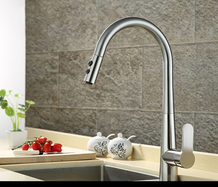 US $66.08 |OLMEY 2 Functions Commercial Kitchen Faucet with Pull Down  Sprayer, Single Lever Single Hole Sink Taps Kitchen Mixer 14-in Kitchen  Faucets ...