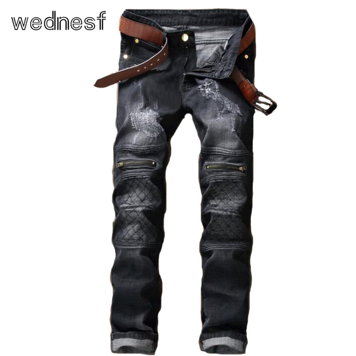 #1932 Grey Hip hop jeans men Elastic Straight Ripped jeans for men Fashion Ankle zipper jeans Famous brand Ripped jeans for men