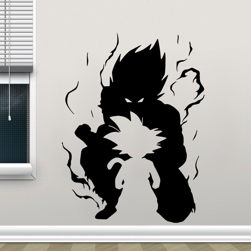 Goku Dragon Ball Kid Silhouette Wall Car Vinyl Decal Anime Wall Sticker Comics Home Decor For Teen Room Cool Gift LZ20 in Wall Stickers from Home Garden