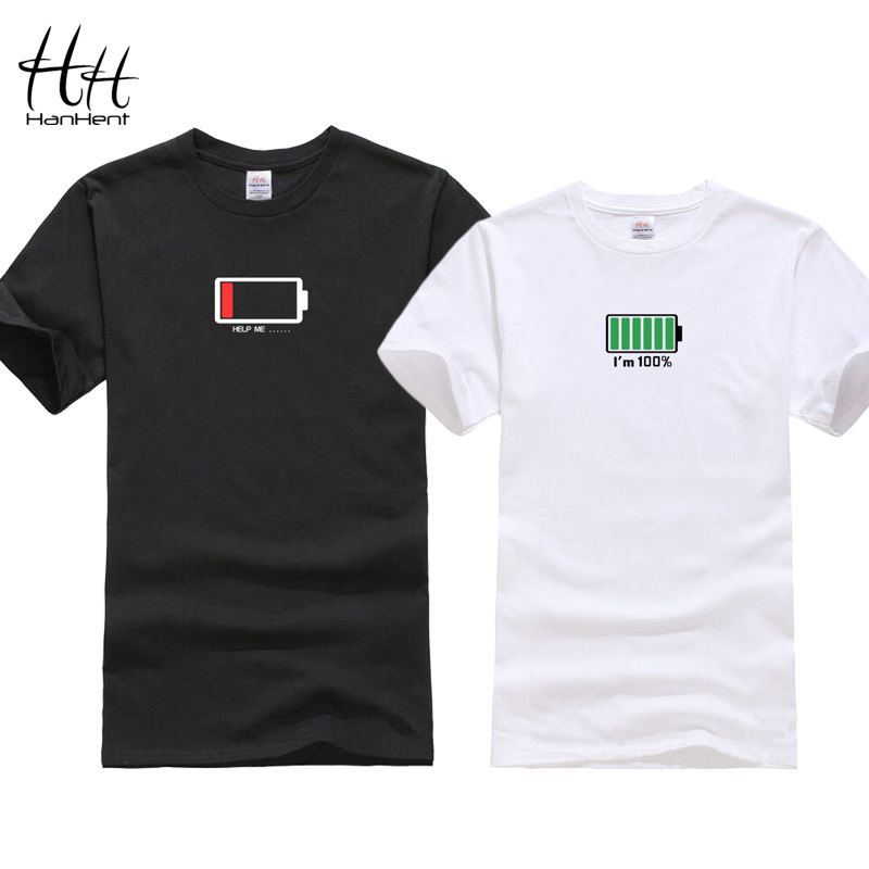 HanHent Funny Battery Design 2018 T-shirt For Couples Valentine Gift T-shirts Lovers Hip Hop Tshirt homme Camisetas Shirt