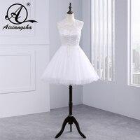 2015 Lace A Line Wedding Dresses Vestidos Short Sleeve Bridal Dresses Chapel Wedding High Quality