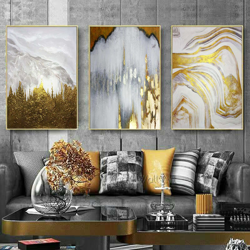 Gold Leaf Canvas Painting Wall Art Wall Pictures For Living Room Quadro Caudro Home Decoration Painting Abstract Acrylic Texture