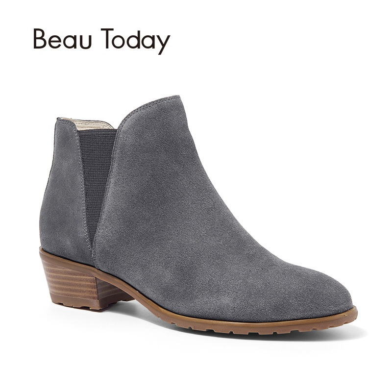 BeauToday Women Chelsea Boots Pointed Toe Genuine Leather Cow Suede Spring Autumn Ankle Elastic Ladies Shoes with Box 03215 women black shoes sheepskin genuine leather women shoes suede pointed toe rivet solid color buckle ladies causal ankle boots