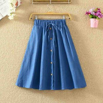 ROPALIA Vintage Retro High Waist Pleated Midi Skirt Fashion Women Skirt Denim Single Breasted Skirt 2