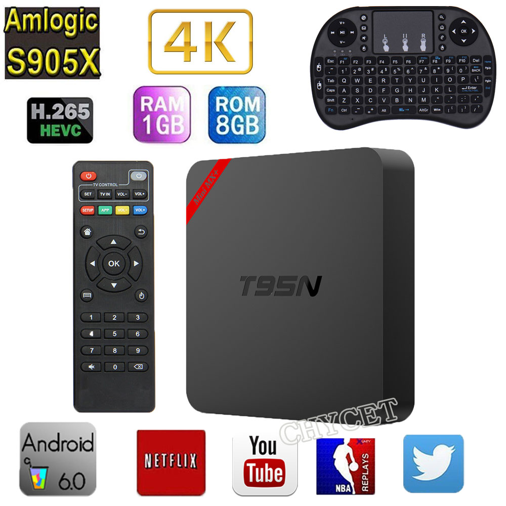 T95N Mini MX+ Smart TV Box Android 6.0 TV BOX Quad Core Amlogic S905X 1G+8G WiFi 4K Streaming Media Player new k1 plus s2 t2 android 5 1 tv box amlogic s905 set tv box 4k hd 1g 8g quad core stb wifi media player free shipping