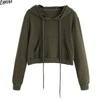 Army Green Cropped Women Hoodies Sweatshirt Drawstring Pouch Pocket Autumn Long Sleeve O Neck Casual Short